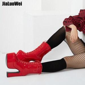 Image 2 - Jialuowei 2019 novo 15 cm super alta plataforma de salto grosso botas de tornozelo feminino rendas up apontou toe bloco quadrado salto sapatos de senhoras