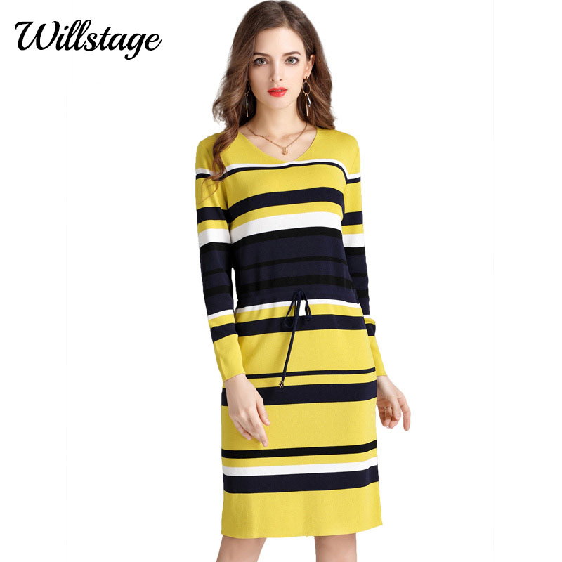 f242b2a7027 Willstage 2018 Spring Dress Women Plus size 4XL Striped Bees Waist Elastic  bandage Slim Long Sleeve Knitted Cotton Vestido