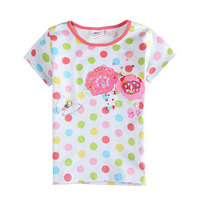 Children t shirt clothing  kids wear beautiful flower and butterfly embroidery polka dot Girls short sleeve T-shirt