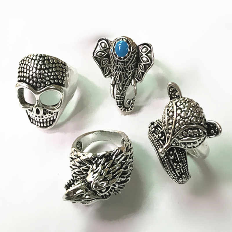 Mix vintage stainless steel antique silver color rings men and women punk carved animal rings wholesale gift
