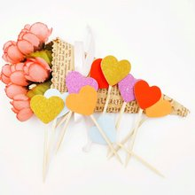 10pcs/bag Colored Bling Heart Cupcake Toppers Picks Artwork Toothpicks Birthday Cakes Topper Wedding Decorate Sticks