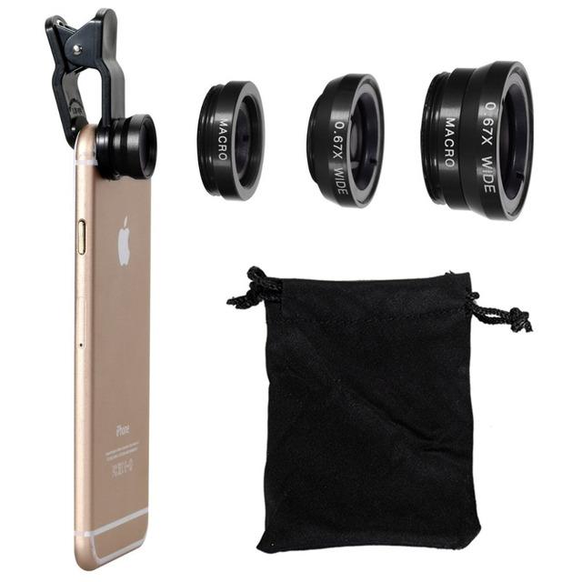 Fisheye Lens 3 in 1 mobile phone lenses fish eye +wide angle +macro camera lens for iphone 7 6s plus 5s/5 xiaomi huawei samsung