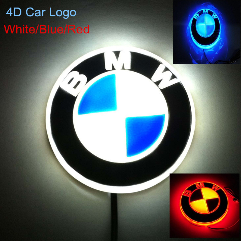 RED/White/Blue New HQ Badge Light Auto Led Emblem 4d shelf Adhesive For BMW 1 3 5 7 x5 x3 etc gu10 5w 230lm 4 led red 1 led blue light