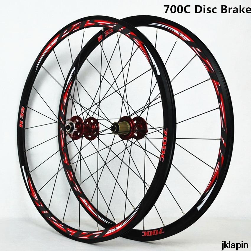 700C Disc Brake Road Bike Wheelset Cross Country Bicycle Wheel V/C Brake Ultralight 1700g Rim 30mm