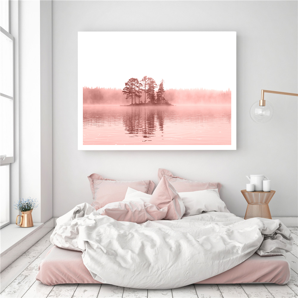 Canvas Pink Island Scenery Wall Pictures for Living Room Flamingo Poster Prints Kids Room Decor Quote Tropical Art Home Decor