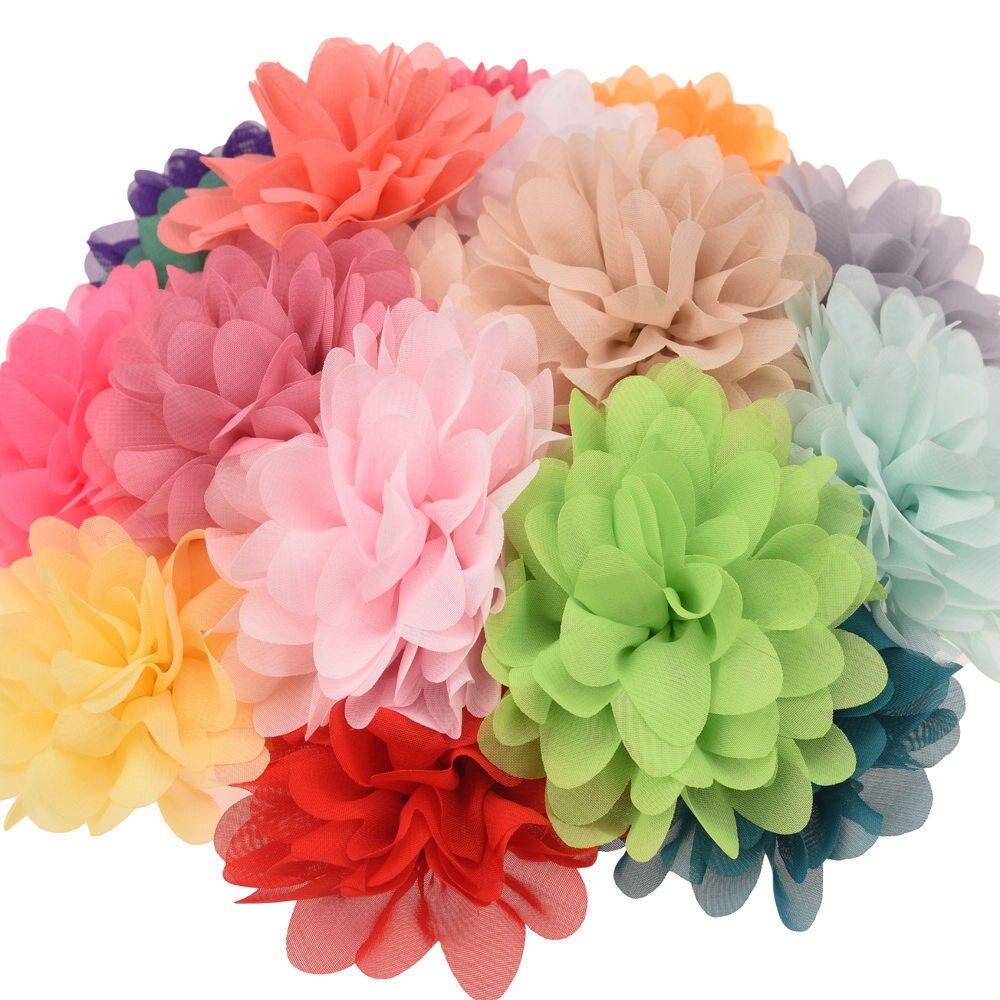 Flower-Accessories Hair-Flower No-Clips Puffy Chiffon Ruffles for DIY 12pcs 10cm Hot-Sale