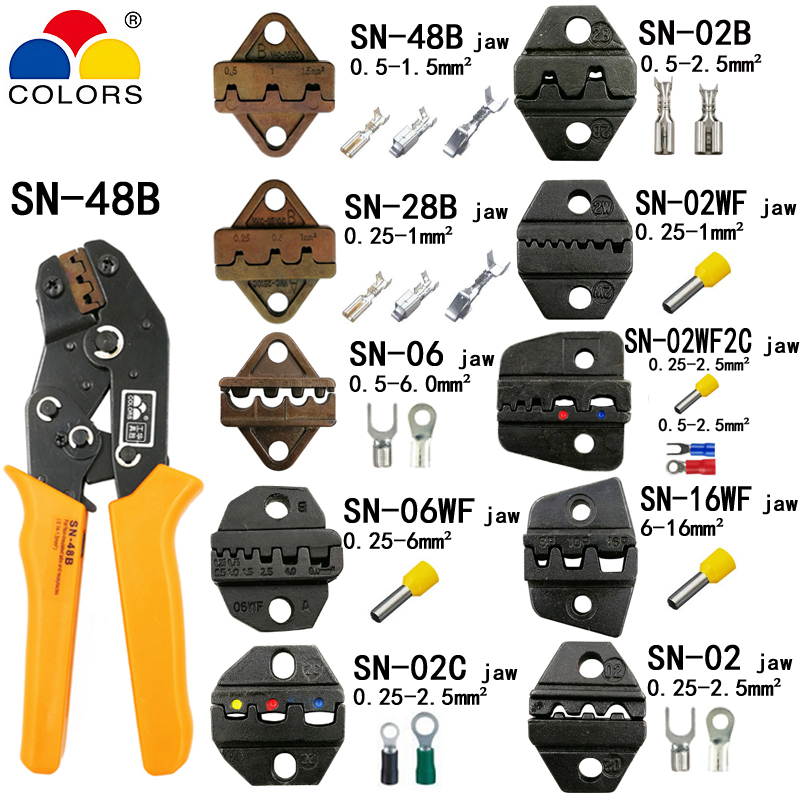 SN-48B crimping pliers with 10 jaws for TAB 2.8 4.8 6.3/C3 XH2.54 3.96 2510/tube/insuated/non insuated terminals 190mm tools