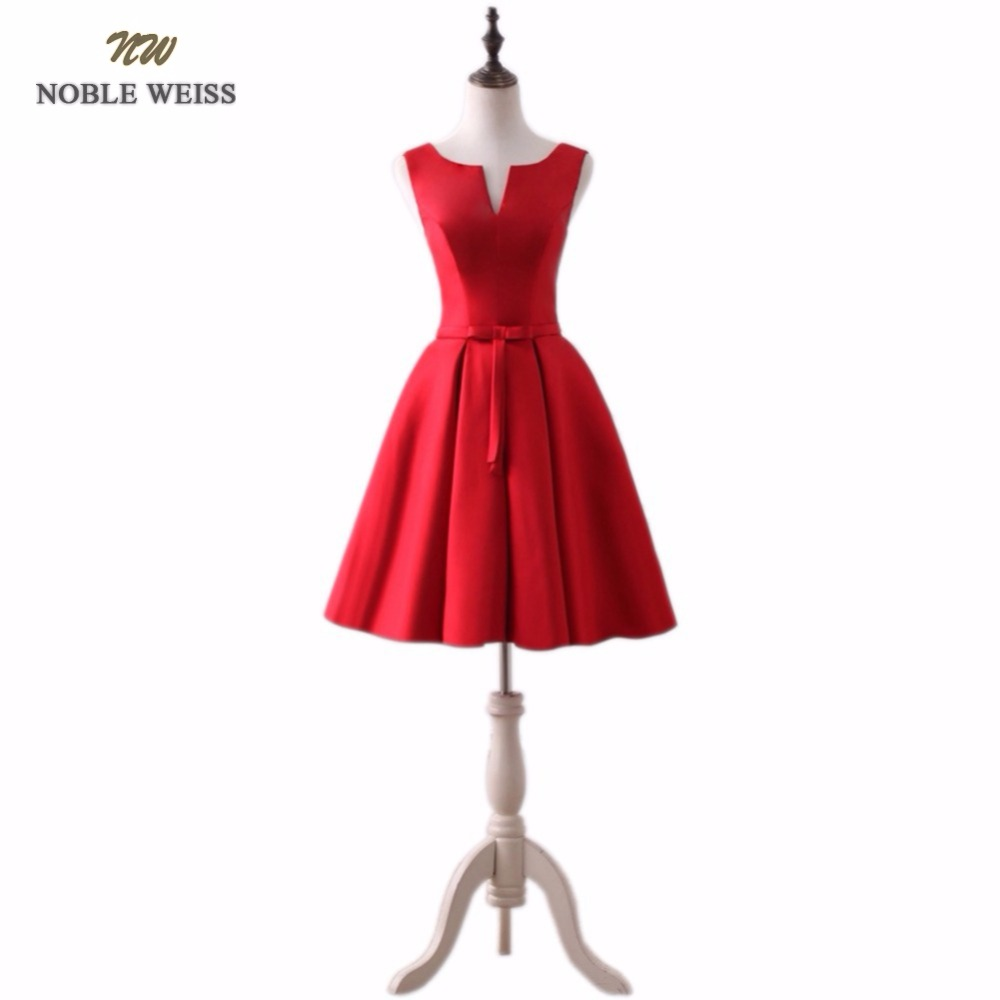 NOBLE WEISS New 2019 fashion knee-length high quanlity red party dresses burgundy plus size vestido de novia lace up prom dress