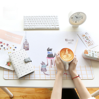 Cute Cat Writing Desk Mat Waterproof Computer Mat Writing Pad Office Table Mat For PC Loptop