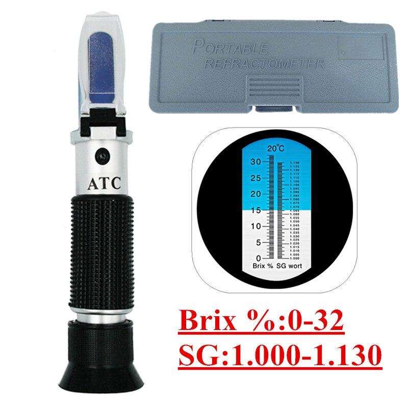 Boîte au détail Réfractomètre Bière Moût Vin ATC SG 1.000-1.130 Brix 0-32%, pour Le Sucre Vin Bière Fruits 45% Off