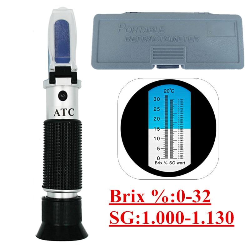 цена на Retail Box Refractometer Beer Wort Wine ATC SG 1.000-1.130 Brix 0-32%, for Sugar Wine Beer Fruit 45%Off