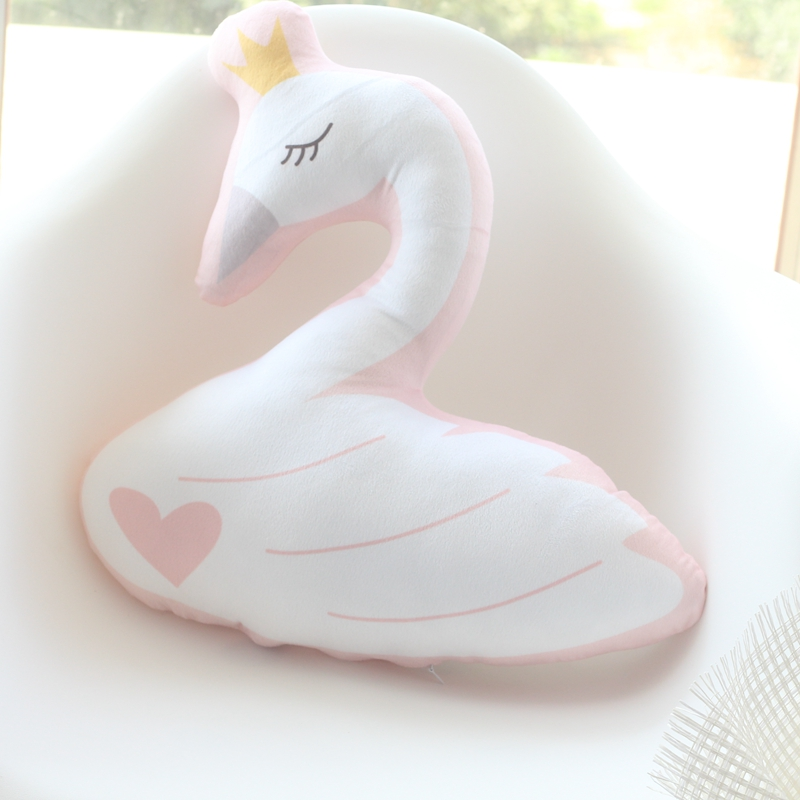45cm Little Girl Soft Toy Cute Swan Cushion Pillow Home Decoration Pillow Baby Appease Doll Kids Appease Toy Birthday Gift candice guo super cute soft cow folded hands warm pillow plush toy doll multifunction cushion home decoration birthday gift 1pc
