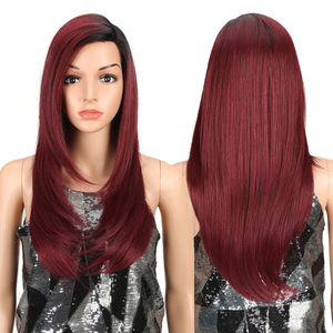 Image 2 - MAGIC Lace Front Synthetic Wigs For Black Women Middle Long 24 Soft Ombre Red Wig With Dark Roots Wavy Heat Resistant Fiber Hair