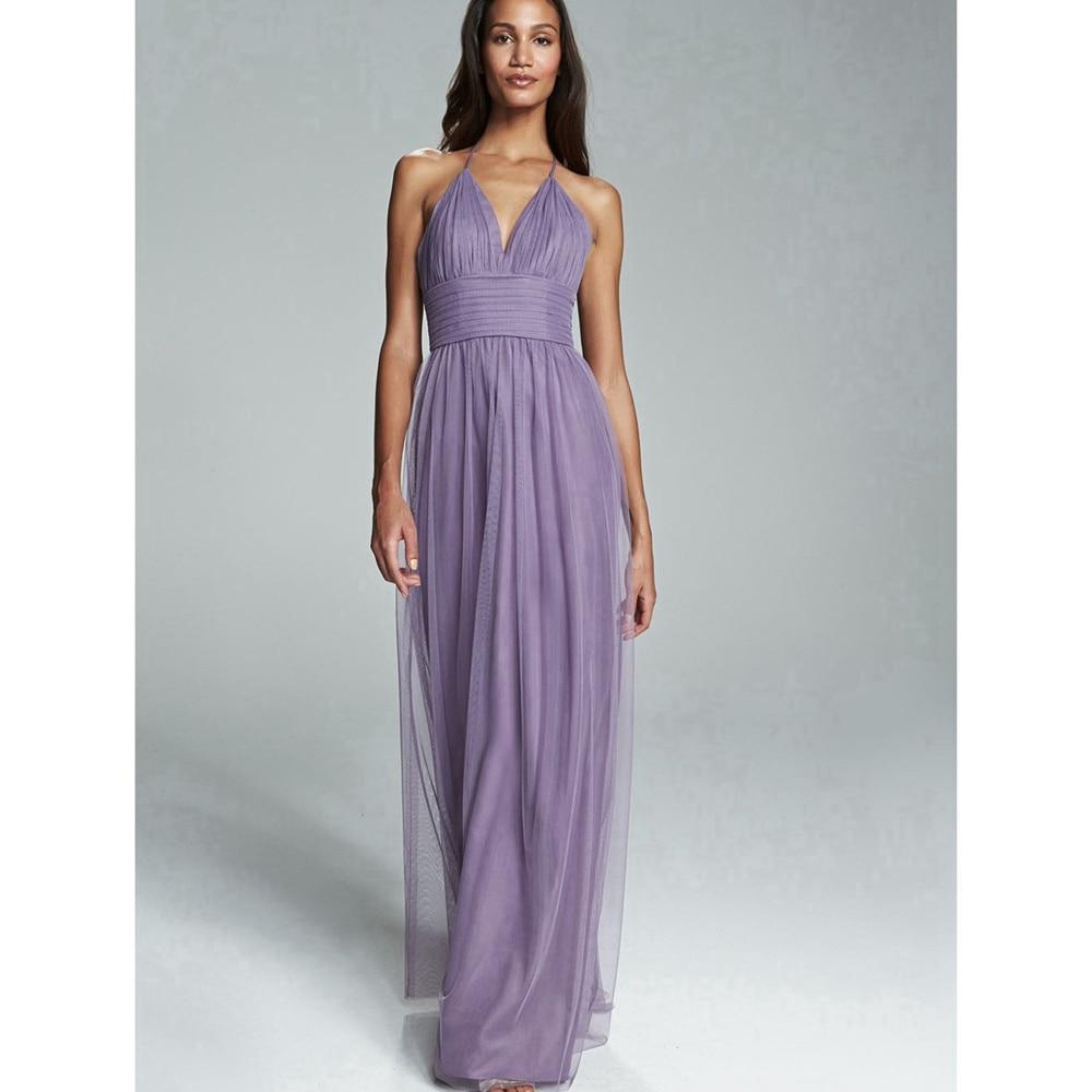 Lilac Bridesmaid Dresses 2016 Halter Neck A line Long Maid of ...