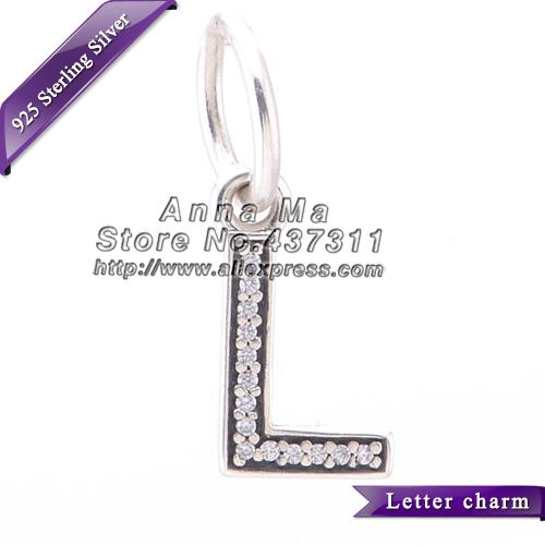 """925 Sterling Silver Letter """"L"""" Mulher Pingente encanto Bead Fit Europeu Jóias DIY Charm Bracelet & Colar Pingente LE_L"""
