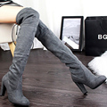 European style fashion simple women knee high boot suede round toe sexy thin boots with high-heeled botas feminina popular DT677