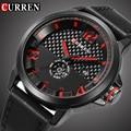 Curren Top Marca de Lujo de Cuarzo Reloj Deportivo Hombre Negro de Fibra de Cara Casual día fecha Cuero Militar Reloj reloj masculino Nuevo