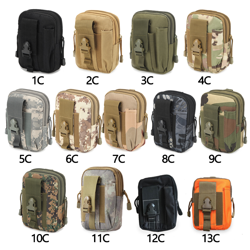 1Pcs Camouflage Tactical Military Camping Climbing Bag Canvas Molle Hip Waist Belt Wallet Pouch Purse Phone Case