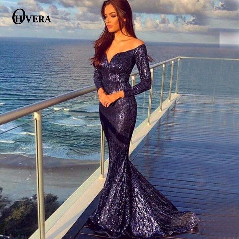 b8ca90569413 Detail Feedback Questions about Ohvera Mesh Sequin Long Maxi Dress Women  Evening Sexy Club Party Dress Elegant Off Shoulder Long Sleeve Autumn  Dresses ...