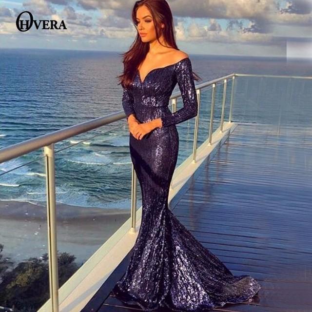 d5cbeb81284f Ohvera Mesh Sequin Long Maxi Dress Women Evening Sexy Club Party Dress  Elegant Off Shoulder Long Sleeve Autumn Dresses Vestidos