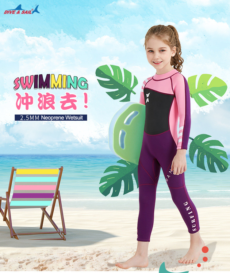 3aee826ae6 DIVE & SAIL One-piece 2.5mm Child Swimwear Long Sleeve Rash Guard Sunscreen