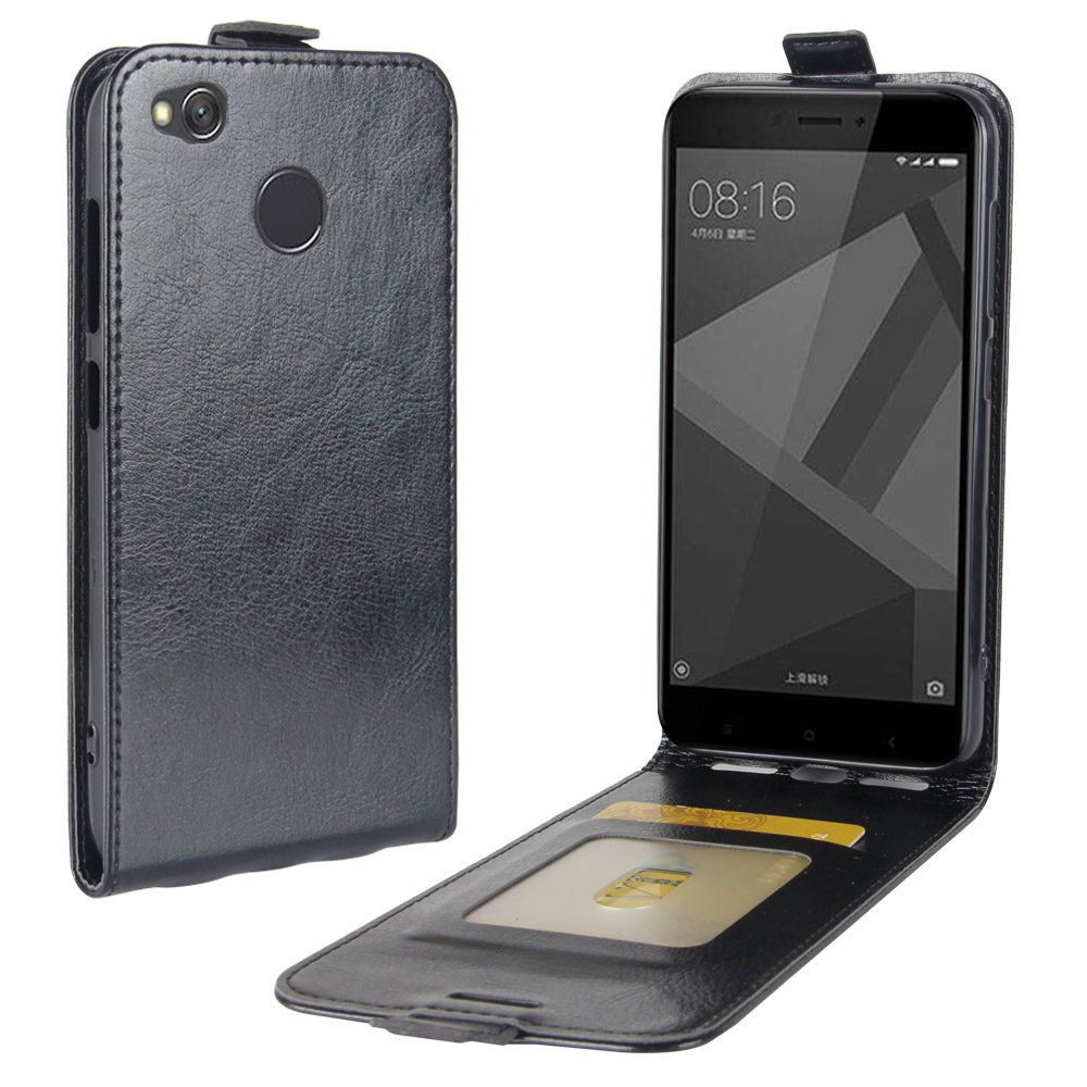 Luxury Vertical PU Leather Flip Wallet Case Cover For <font><b>Xiaomi</b></font> <font><b>Redmi</b></font> <font><b>4X</b></font> UP DOWN <font><b>Cell</b></font> <font><b>Phone</b></font> housing Bags with Photo Frame