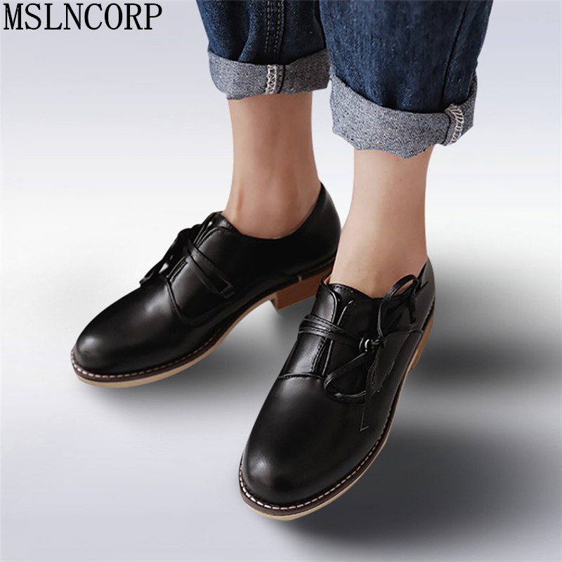 где купить plus size 34-43 Spring Autumn Flats British Style Oxfords Shoes Women Soft Leather In with Casual Lace Up Retro zapatos Mujer по лучшей цене