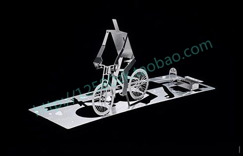 Personality Flip Bicycled Quality Stainless Steel 3D Metal Card