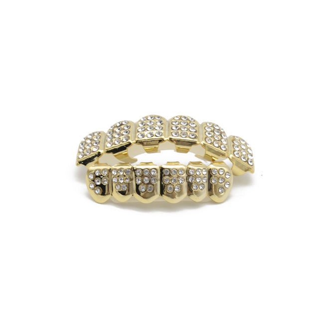 Hip Hop Gold Silver Iced Out CZ Teeth Grillz Top Bottom Bling Men Women Jewelry New 1