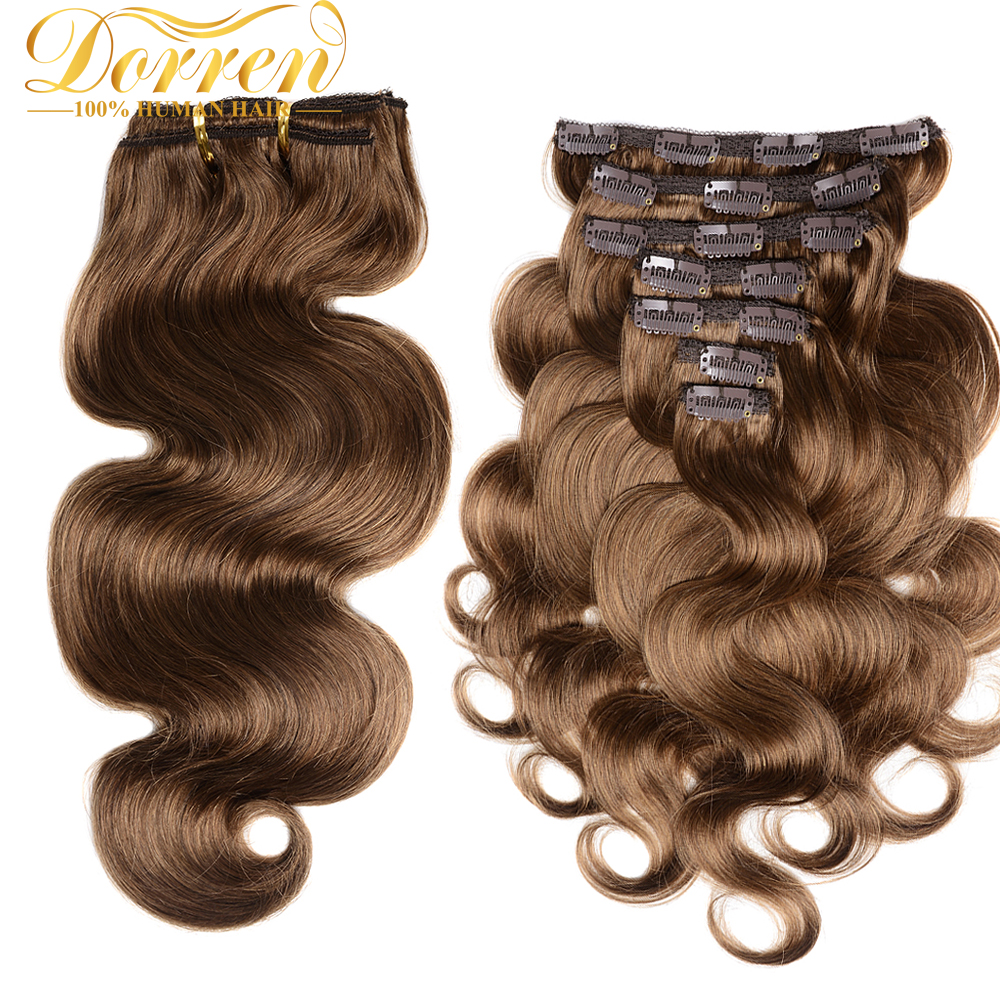 Doreen 200G Thicker Body Wave Clip In Human Hair Extensions Double Weft Brazilian Remy Hair With Lace 100% Natural Human Hair