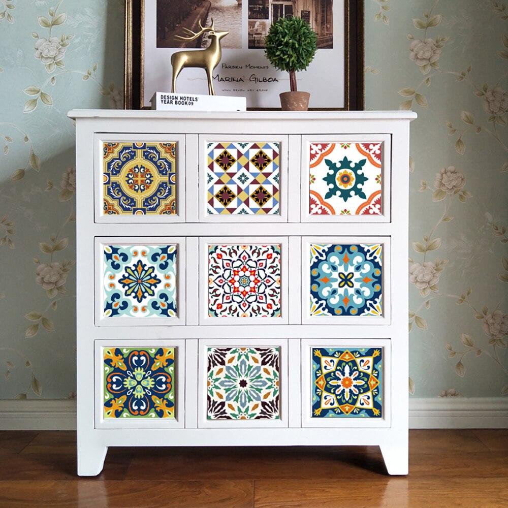 10 шт., Набор наклеек на стену из Марокко, ПВХ, мебельная наклейка, украшение для кухни, ванная комната, настенное искусство, настенная, водоне...