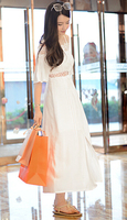 White Summer Dress Women Seaside Holiday Slash Neck Bohemian Long Dress Slim Lace Dress Strapless Camisole