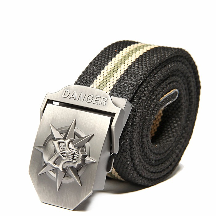 Fashion men's Canvas belt skull Metal tactics woven belt canvas belt Casual pants Cool wild gift for men belts Skull large size 13