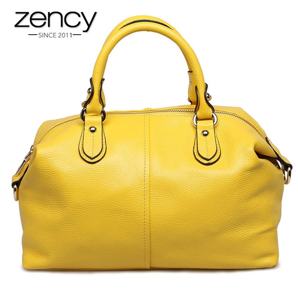 Zency Boston Designer Dámská kabelka 100% pravá kůže Tote rameno taška dámská kabelka ležérní Satchel kapacita Bolsa Feminina