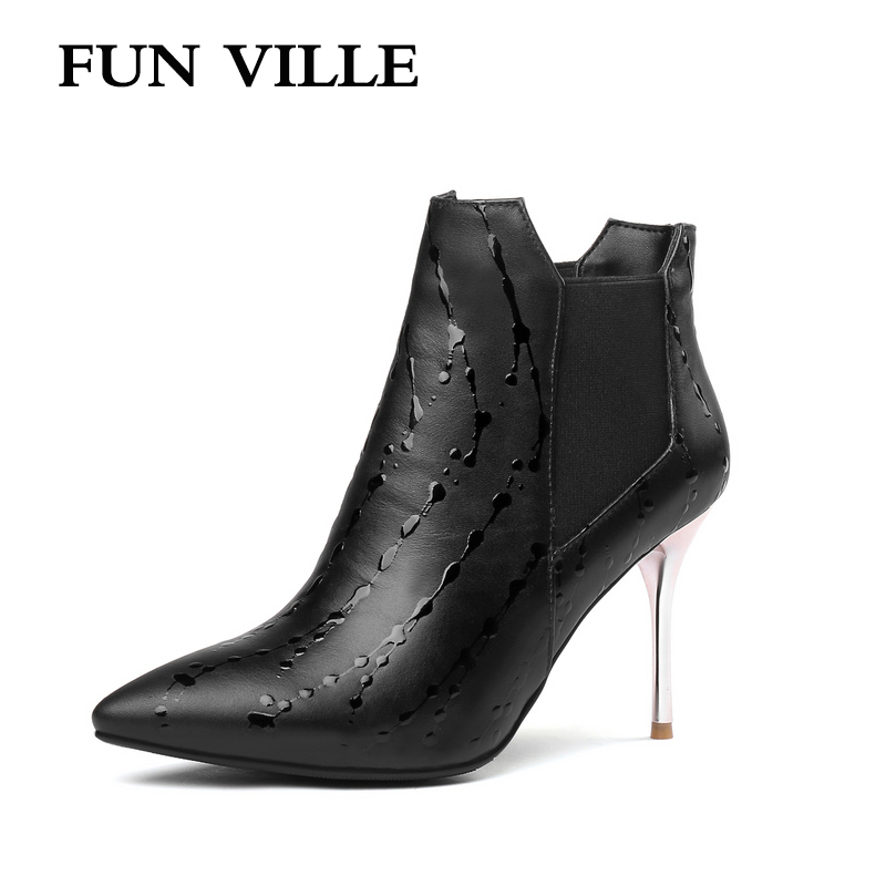 FUN VILLE 2018 Autumn winter New Fashion Women Ankle boots Genuine leather Thin High heels sexy ladies shoes Pointed toe Slip on 2018 new autumn winter genuine leather women ankle boots high heels pointed toe zip sexy ladies snow boots black women shoes