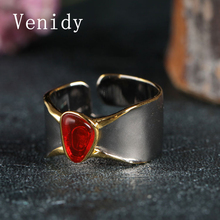 Venidy Vintage Natural Resizable Opal Ring Female Fashion Red 925 Sterling Silver Fine Jewelry Wedding Rings For Women Birthday