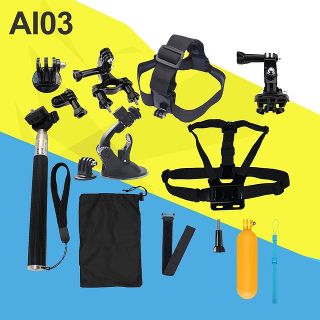 Gopro accesorios set pecho cinturón head mount correa para go pro hero 4 3 3 + 5 negro edición set para eken sjcam h8 h9