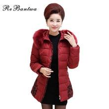 Rebantwa Floral Mid-long Parkas Womens Winter Jackets Cotton Big Fur Winter Coats Women Warm Mother's Outwear Plus Size XL-5XL