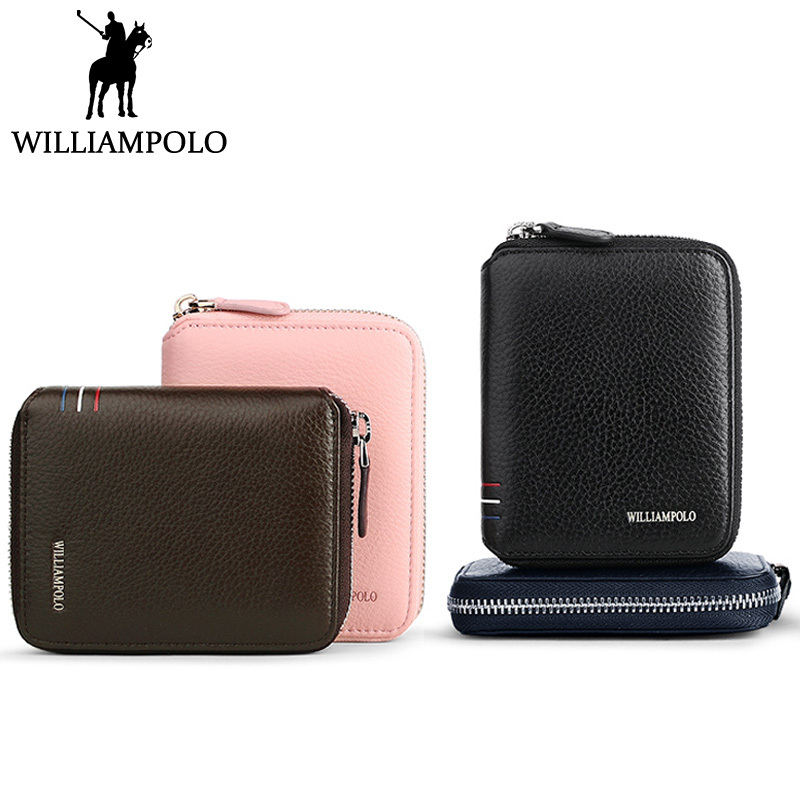 WILLIAMPOLO 2018 Small Womens Purse Mens Wallet Genuine Leather Zipper Coin Pocket Lovers Gift Short Purse For Men