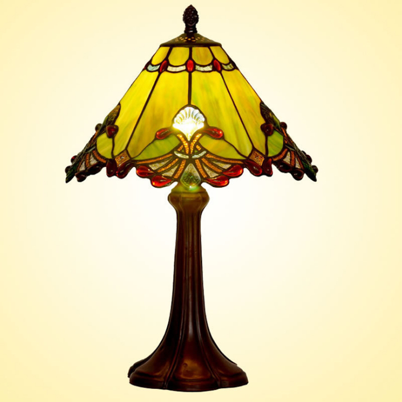 Nordic Style Baroque Stained Glass Antique Ramadan Lampada E27 LED Bedside Desk Table Lamp Light Salon Study Reading Lighting