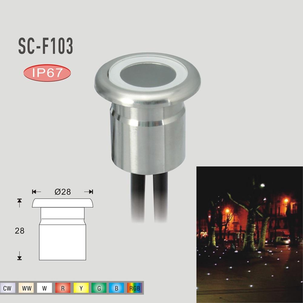1-50Pcs RGB 22mm 0.8W 12V Outdoor Path Yard Decor LED Inground Deck Stair Lights