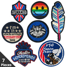 7 Pieces Lot Embroidery Patch on Clothes Iron Patches for Clothing Brand Stripe Applications Garment Stickers Accessories