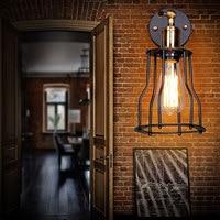 Amerikanischen Einzelkopf Eisen Vintage Käfig Wandleuchten Mit E27 Lampenfassung 110 240 V Kaffee Haus/Esszimmer halle/Indoor Lampen Leuchten-in LED-Innenwandleuchten aus Licht & Beleuchtung bei