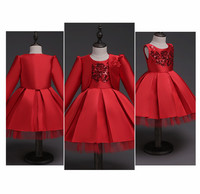 Fashion Flower Girl Dress With Coat Set Red Sequined Tulle Wedding Party Dresses Princess Dress For