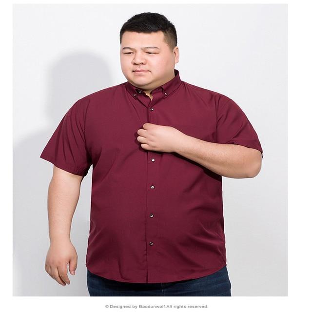 Plus 10XL 8XL 6XL 2018 Cotton Men Short Sleeve Solid Business Working Shirts Casual Shirt Oxford 5