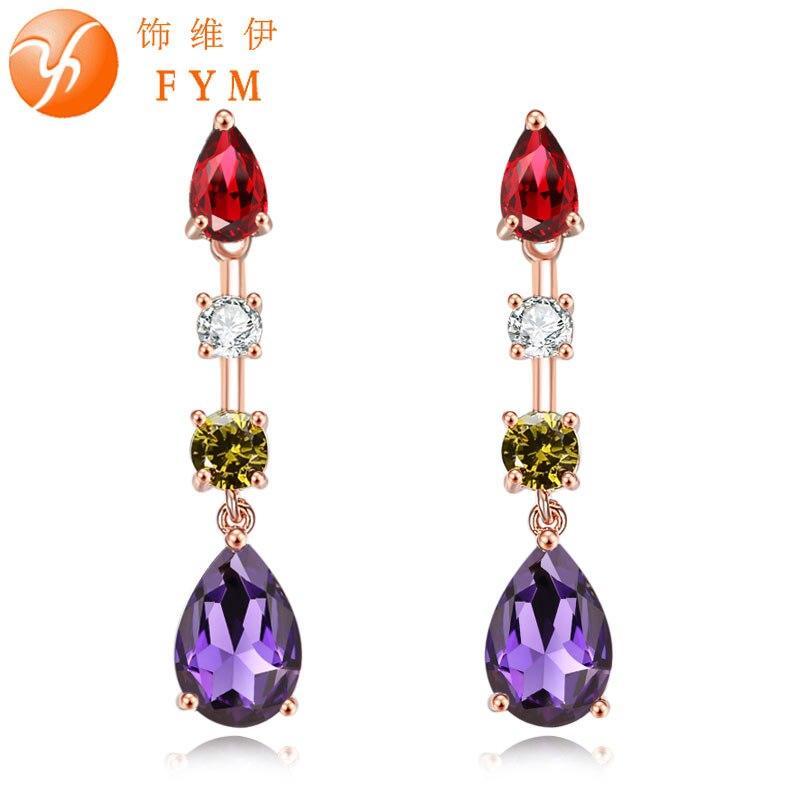 FYM Luxury Colorful Trendy Rose Gold Color Red Purple Drop Earrings Womens AAA Cubic Zirconia Jewelry Wedding Dangle Earring