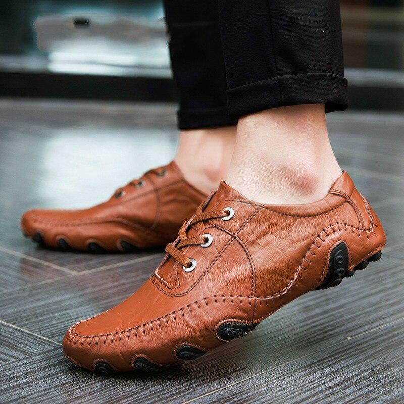 De Mocassins Mâle Casual Respirant 8890m 8890brown 8890m Toe En Lacent Chaussures 8890black black Cuir Loisirs brown Point Hommes Véritable HAB07
