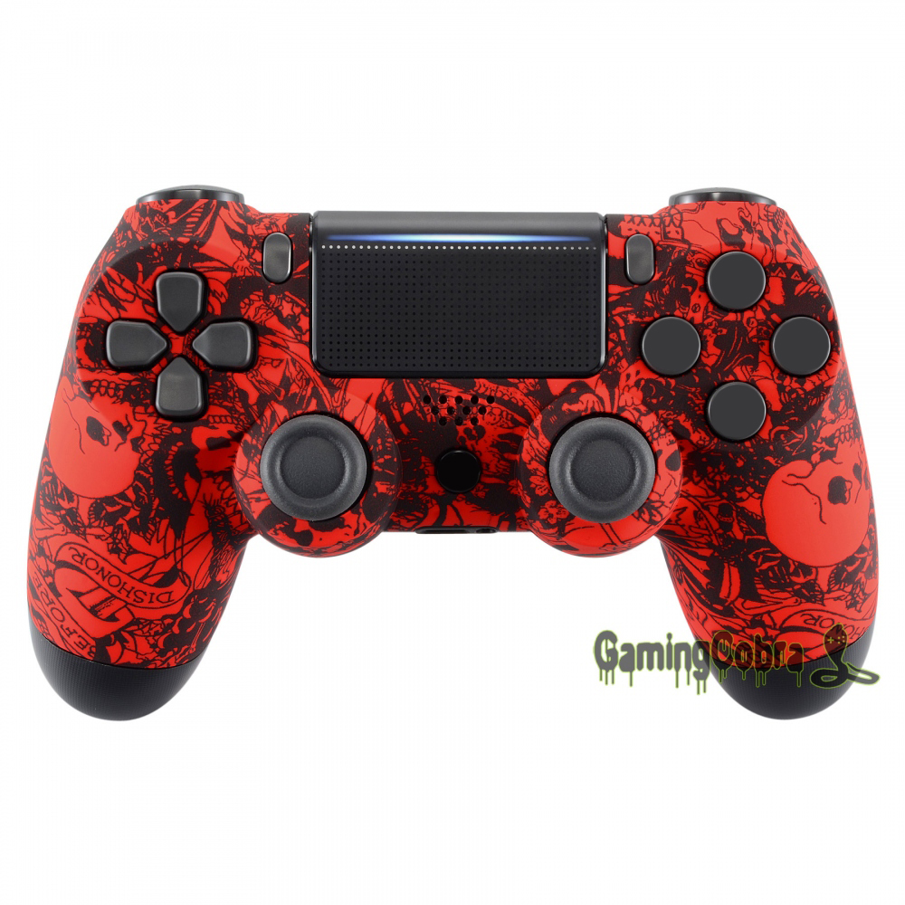 Red Skulls Soft Touch Upper Housing <font><b>Shell</b></font> Case Replacement for PS4 Pro PS4 Slim Controller <font><b>JDM</b></font>-040 <font><b>JDM</b></font>-050 <font><b>JDM</b></font>-<font><b>055</b></font> # SP4FS12 image