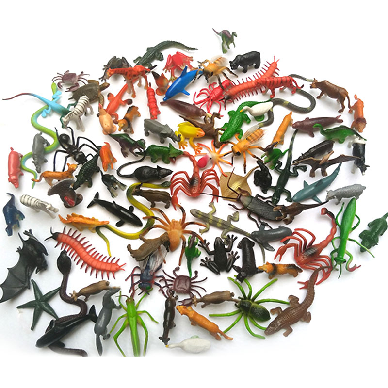 80Pcs/Lot Anime Insect Reptiles World Stimulation Animals Figure Toy Gags Practical Jokes Kids Baby Toys