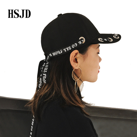 Men&Women Fashion Long Belt Ribbon Black Baseball Caps 2018 Fashion Summer New Hip Hop Cap With Ring Snapback Hat Unisex Punk Lahore